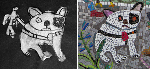 Preparatory charcoal and chalk drawing of French Bulldog and mosaic detail